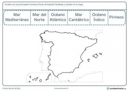 Ficha de fronteras de España para primaria