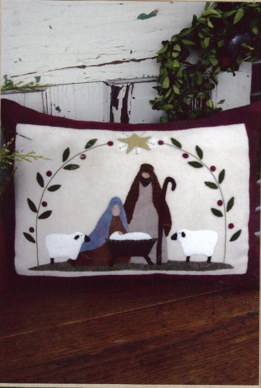 Bunny Hugs Silent Night The Pattern Hutch wool applique craft pattern nativity pillow