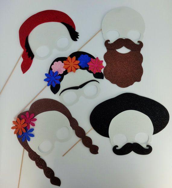 8 Mexican Fiesta Photo Booth Props Mustache on a stick Katrina Day of the dead Mariachi Mexican Hat Katrinas Hat 5 de Mayo Fiestas Patrias