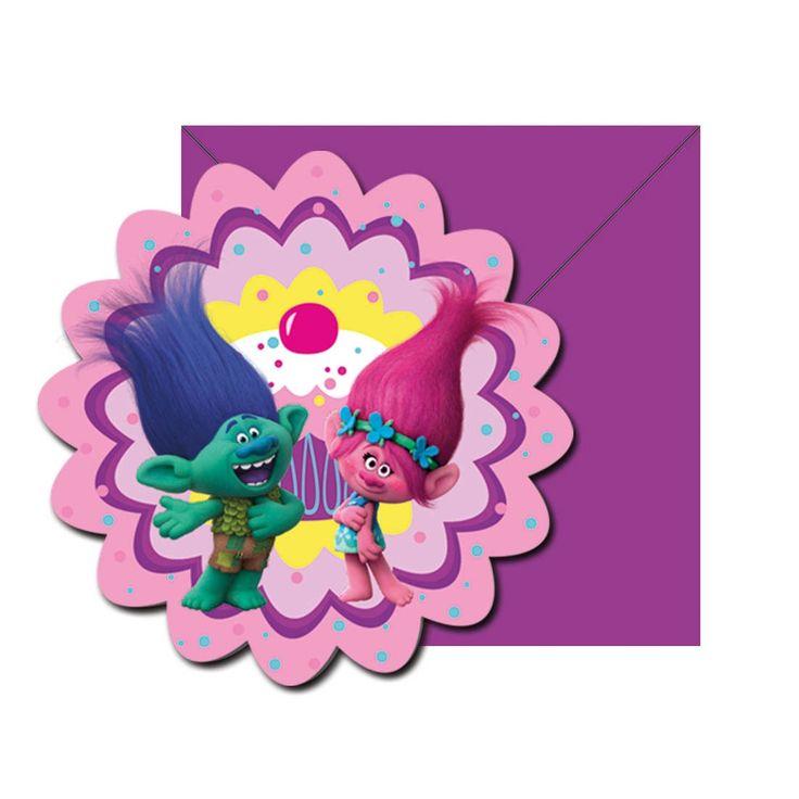 Nodig je vrienden uit voor je verjaardagsfeestje met deze uitnodigingen van de Trolls. De 6 kaartjes in de vorm van een bloem hebben de afbeelding van Poppy en Branch op de voorzijde. Inclusief paarse enveloppen. Afmeting: verpakking 18 x 12 cm - Trolls Uitnodigingen, 6st.