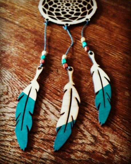 Ombre Feather www.beamsandbobbins.co.uk #teal #dreamcatcher #plywood #lasercut