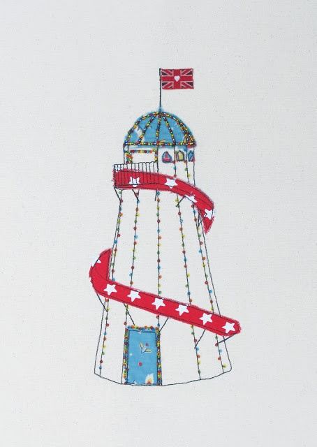 Helter skelter: stitched collage