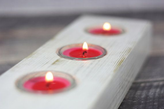 Up cycled White Wooden Candle Holder, Reclaimed Wooden Candle Holder, Unique Wedding Gift