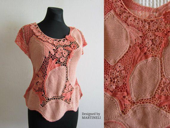 Peach Irish Crochet Top Freeform Crochet Bohemian by MARTINELI