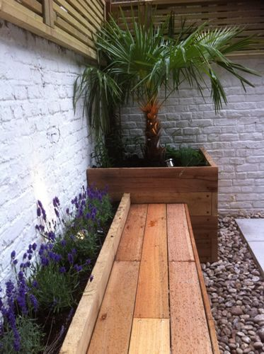 Small Courtyard Ideas Might Consider Having Flowers Match Potted Plants Inside Like The Behind Bench Idea