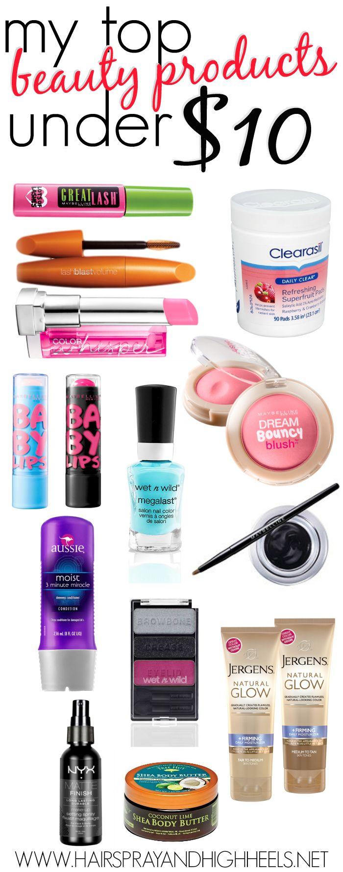 Top Beauty Products Under $10 via @Krista McNamara McNamara McNamara McNamara Knight and HighHeels                                                                                                            Hairspray and HighHeels