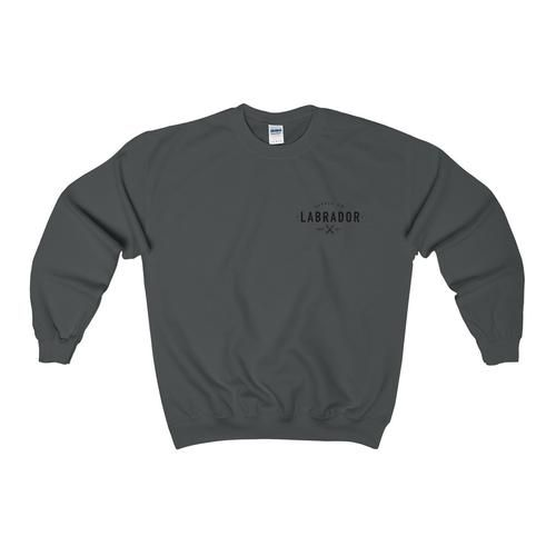 Pullover crewneck sweatshirt with large Labrador Supply Co. logo on front left breast. Available in several colours -- Ash Grey shown.
