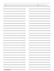 Ruled Paper with Two Columns