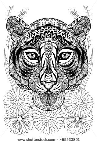 Zentangle stylized tiger face on flowers Hand drawn