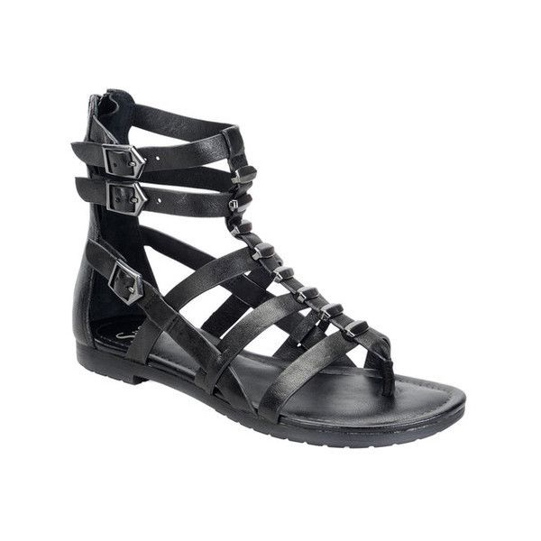 Women's Sofft Basil Gladiator Sandal ($90) ❤ liked on Polyvore featuring shoes, sandals, cage shoes, casual, leather strap sandals, black gladiator sandals, strappy gladiator sandals, black sandals and black leather flats