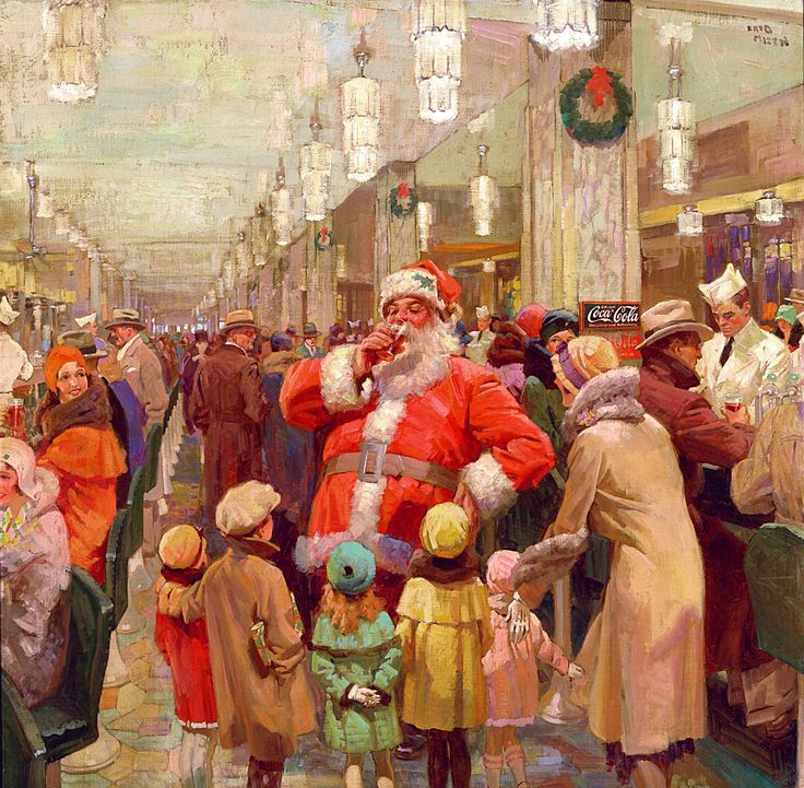 Holiday Photos From the Coca-Cola Archives: The Busiest Man in the World | This 1930 advertisement features a mall Santa at he famous Barr department store, at the world's largest soda fountain in the world at the time.