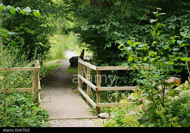 A bridge and a seat in a park Stock Photo