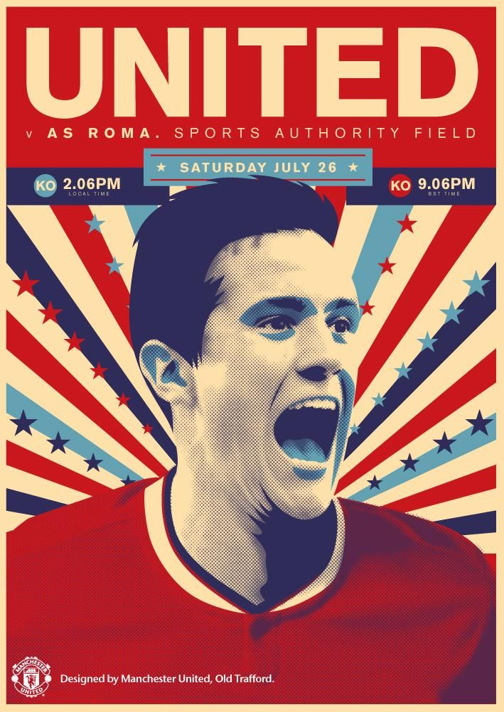 Match poster. Manchester United vs AS Roma, 26 July 2014. Designed by @Manchester United.