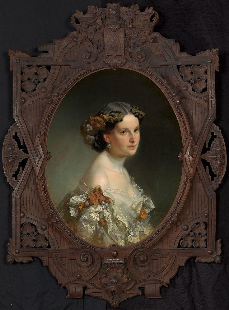 1860 Portrait of Unknown Woman - Ivan Makarov (1822–1897) *Beautiful Frame