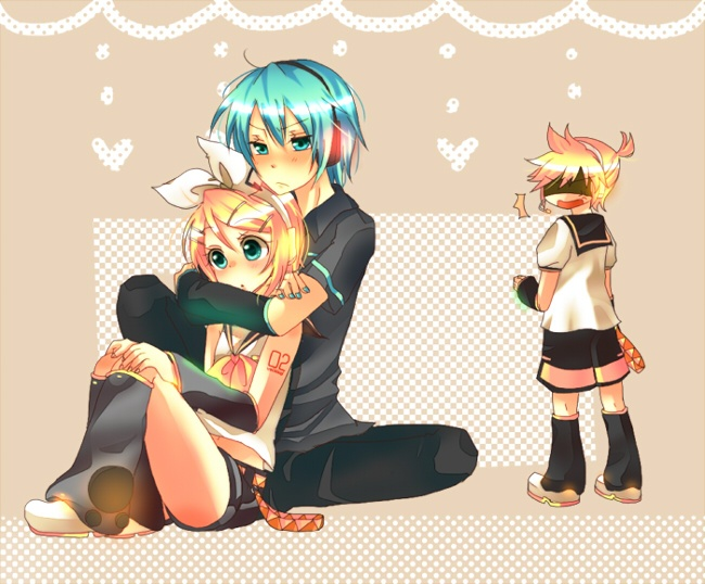 Mikuo and Rin, with forever alone Len. Poor Len.