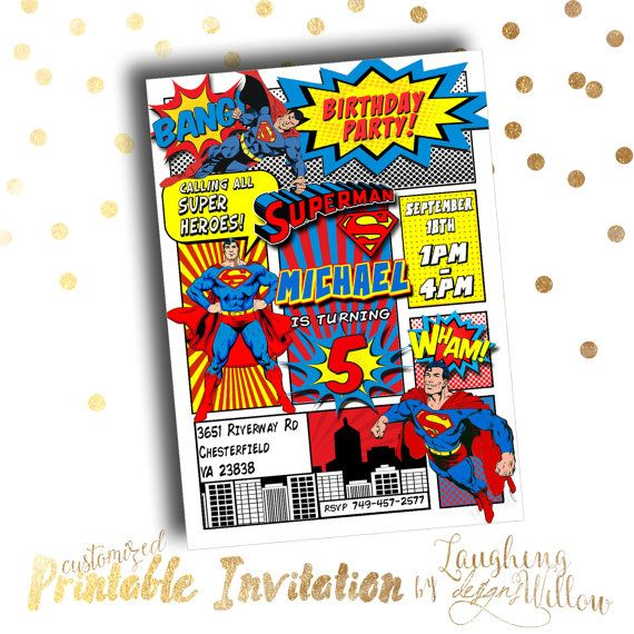 Superman Invitation Superman Birthday by LaughingWillowDesign