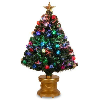 """The Holiday Aisle Optic Fireworks Green Fiber Artificial Christmas Tree Size: 36"""""""