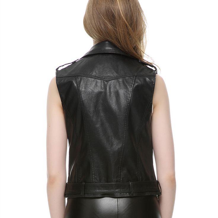 Leather Vest Women Fashion 2015 leather colete femininon Black crochet top gilet Waistcoat Turn-down Collar vest Free Shipping