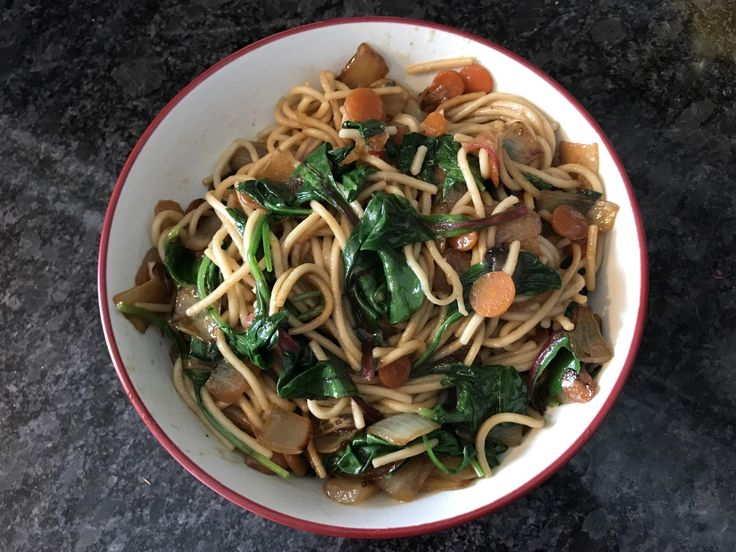 [Homemade] Stir fried canton noodles with radish onion carrot and greens.