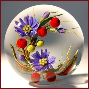 CHRIS BUZZINI'S floral, art glass paperweight