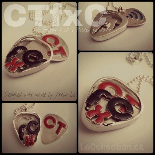 CTfxC youtuber guitar pick / holder pendant. Made for Charles Trippy.  Handfabricated, sterling silver made by Arron Le.