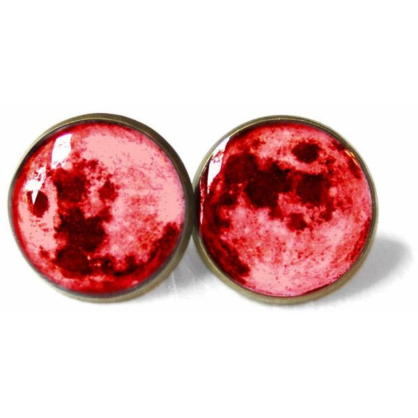 Blood Moon Stud Earrings Pastel Goth Grunge Boho Jewelry Boho Chic... ($10) ❤ liked on Polyvore featuring jewelry, earrings, gypsy earrings, clear earrings, bohemian earrings, goth earrings and stud earrings
