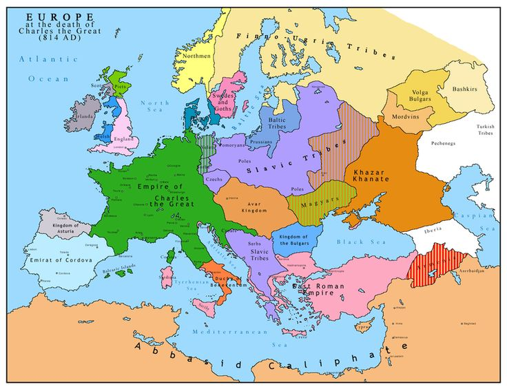 Map of Europe after the death of Charles the Great (814 AD)