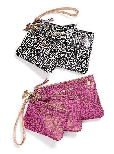 """Victoria Secret Supermodel Essentials Cosmetic Bag Set by Victoria's Secret. $29.99. Pink color with Victoria's Secret monogram all over. Each individual bag has a removable hook which can be separate from the set.. Big 10"""" x 7"""" Medium 7.5"""" x 6"""" Small 7"""" x 5"""". Set of 3 SUPERMODEL ESSENTIALS cosmetic bags. Set of 3 SUPERMODEL ESSENTIALS cosmetic bags PVC Material. Durable Each individual bag can be removed from the set.. Save 48%!"""