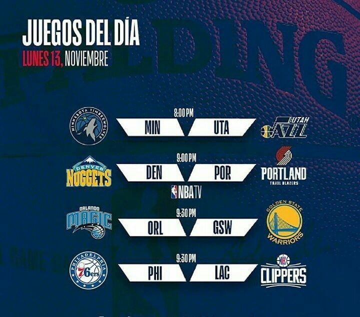 Juegos de hoy  Swipe! . . . #nba #basket #news #basketball #gamenight #today #tonigth #games #nbagames #teams #nbateams #timberwolves #warriors #sixers #magic #cavs #nuggets #jazz #cleveland #hawks #pelicans #bucks #lakers #kings #Wizards #hawks #knicks #kings #clippers
