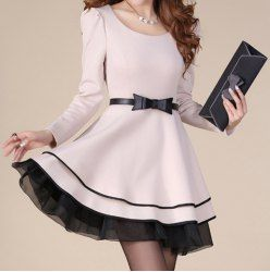 $19.45 Elegant Style Puff Sleeves Scoop Neck Color Block Bow Tie Polyester Dress For Women