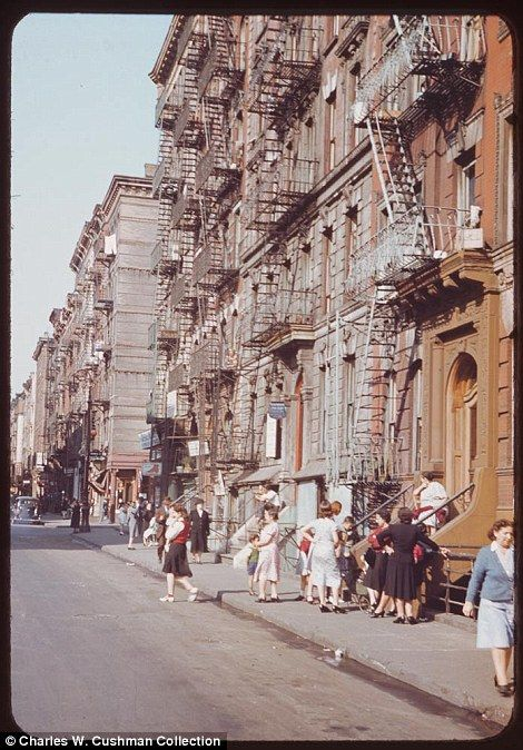How times have changed in New York City! Extraordinary colour photographs reveal 1940s life in the Big Apple in all its glory      Photos by Indiana snapper Charles Weever Cushman in 1941 and 1942     Expensive colour Kodachrome was used to take impressive collection     Many buildings have since been demolished but some of them still stand