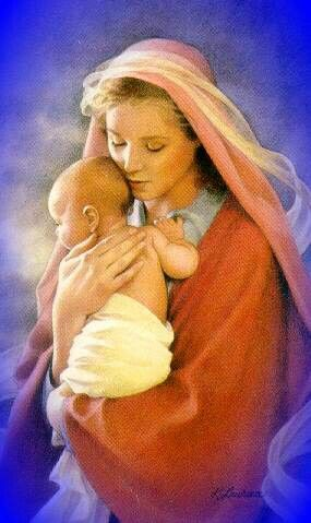 The Blessed Mother's hijab flutters in the breeze, while the tiny Jesus peeks from the secure nest of Mary's embrace.