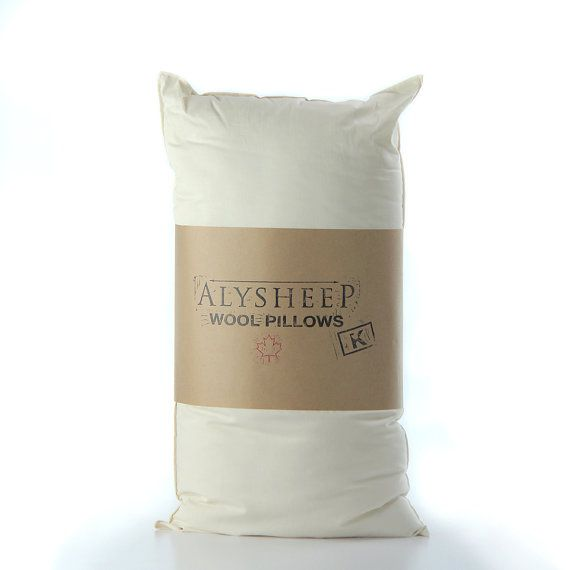 Organic Bed Pillow  King Size Wool Pillow // by TRUNKandTREADLE