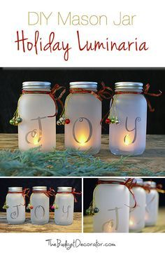 DIY Mason Jar Holiday Luminaria  Supplies Smooth sided mason jars (Hobby Lobby is where we got ours) Frosted glass spray paint Clear matte sealer, or glitter spray paint Stick on letters to spell your word Spray paint for the lids (optional) LED votive candles (Craft stores, or at Home Depot in the Xmas Section) Ribbon and picks for the lid