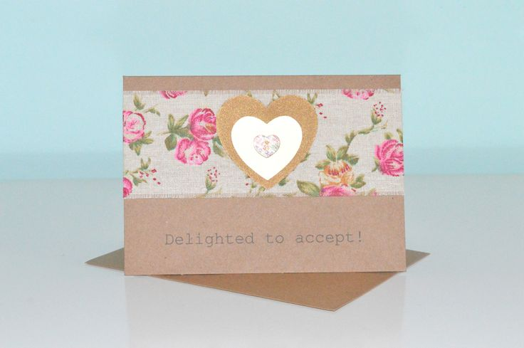 Blooming Designs Rustic Floral Wedding Acceptance Card 2