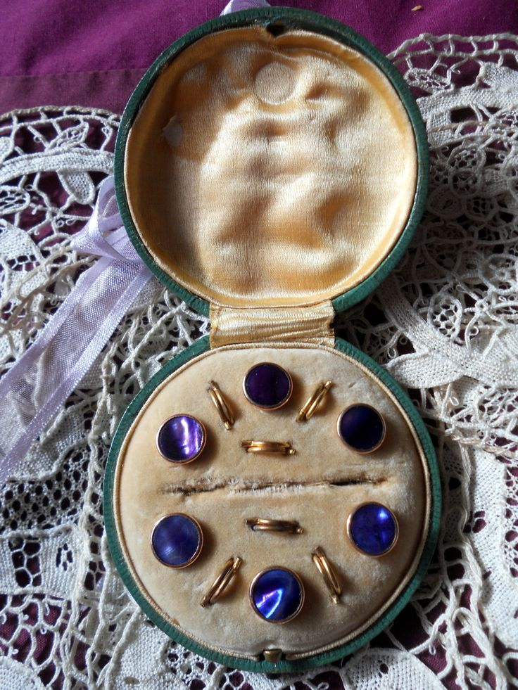 Antique Boxed SET OF Lovely Purple Waistcoat Buttons Great FOR Dolls Costume | eBay