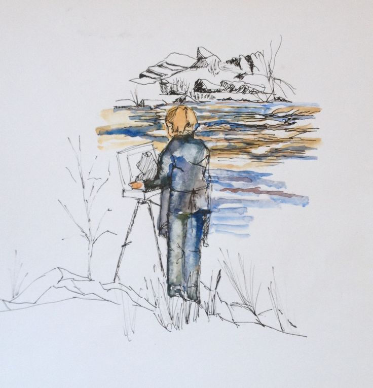 Celestine painting at Bells Rapids Watercolour and pen