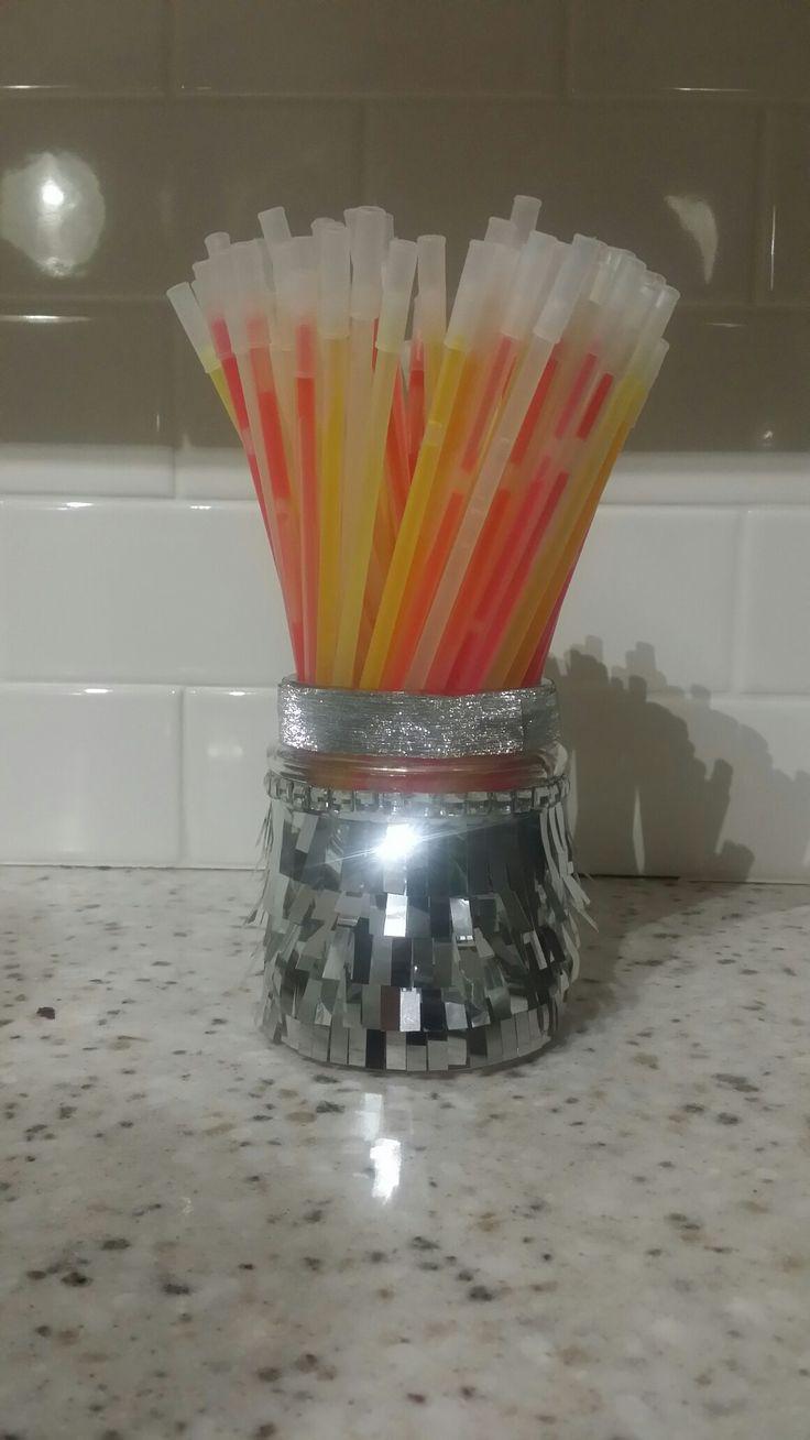 Silver fringe jar with glow Sticks
