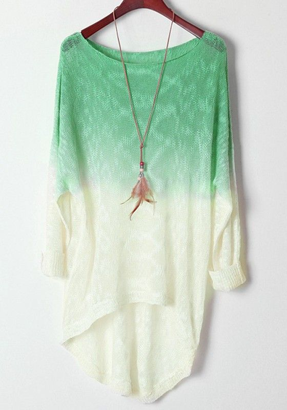Light Green Gradient Batwing Long Sleeve Wool Sweater