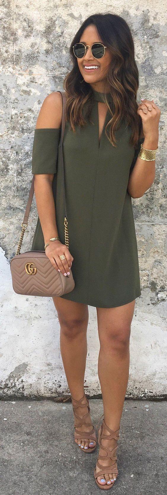 Ideas para el fin de semana, moda. Vestido verde. Fresco.