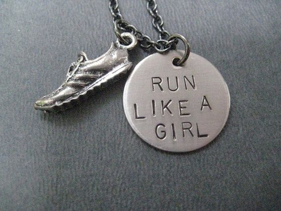 RUN LIKE A GIRL Round Pendant with Running Shoe by TheRunHome, $19.00