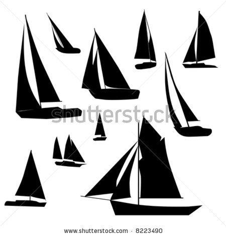 sailboat stencil | Vector Collection Of Isolated Sailboat Silhouette Designs. - 8223490 ...