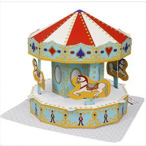 Papercraft imprimible y armable de un Tiovivo / Merry-go-round. Manualidades a…