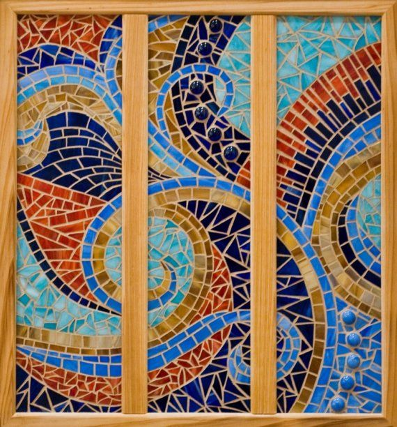 Whimsical Triptych Glass Mosaic By Waveofcolormosaics On