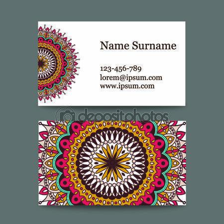 Baixar - Vetores conjunto de cartões de visita no motivo nacional. cartão com mandala colorida para florista de salão de beleza, Spa, yoga — Ilustração de Stock #114121162