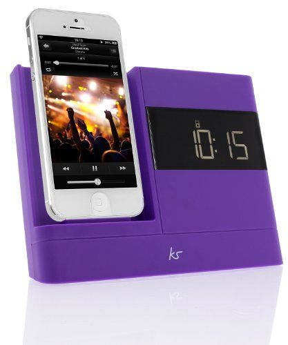 nice KitSound X-Dock2 LCD Display Clock Radio Dock with Lightning Connector for iPhone 5/5S/6/6S, iPod Nano 7th Generation and iPod Touch 5th Generation - Purple