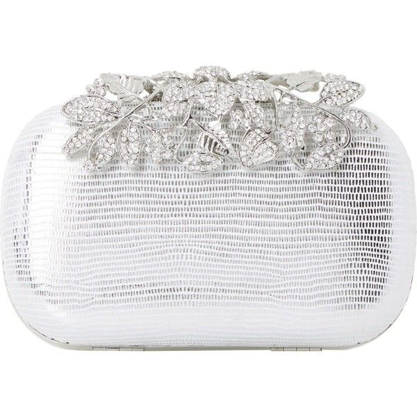Dune Emberrs embellished clasp clutch bag ($75) ❤ liked on Polyvore featuring bags, handbags, clutches, metallic purse, clasp purse, white clutches, chain handle handbags and clasp handbag