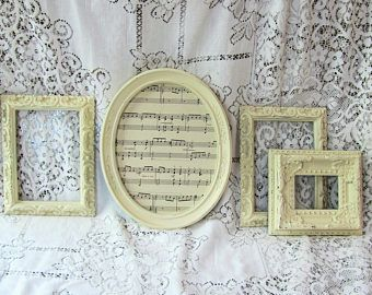 Shabby Chic Frames, Ornate Picture Frame Set, Antique White Vintage Picture Frames, Nursery or Wedding Frames