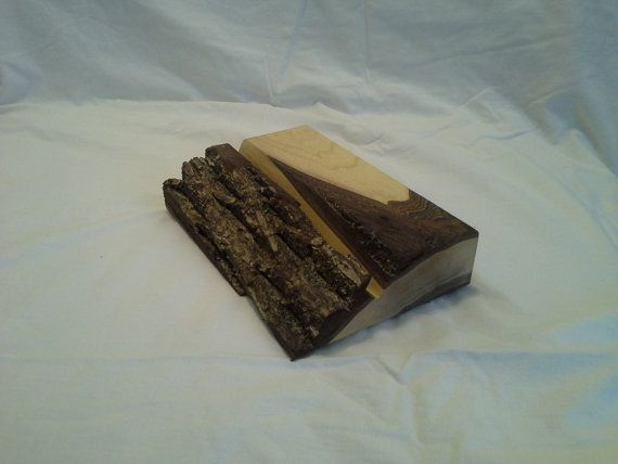 Tablet stand in black walnut with live edge by SawmillWoodcrafts