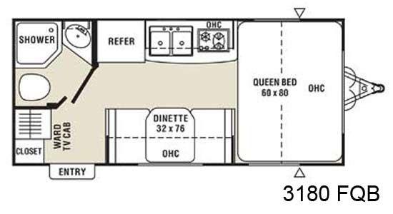 coachmen m series small travel trailer floorplan 3180 fqb rvs under 3 000 lbs pinterest. Black Bedroom Furniture Sets. Home Design Ideas